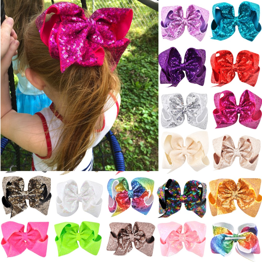 Lovely 8 Inch/6 Inch Children Girls Rainbow Large Big Hair Bow Sequins Hair Accessories Women Shining Alligator Party Hair Clips