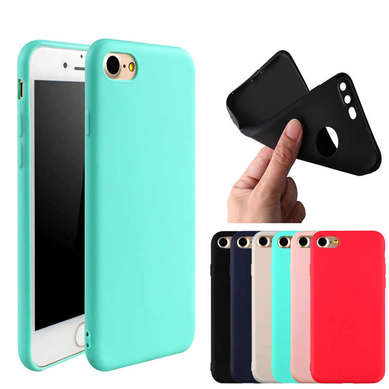 Funda de teléfono para iPhone 7 6 6 s 8 X Plus 5 5S SE Simple Color sólido ultrafino suave TPU fundas moda Color caramelo contraportada