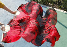 female high quality Chinese silk veils dance fans Pair of belly dancing fans cheap hot sale Colorful Red + black