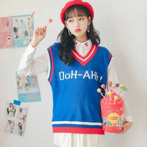 Gestrickte Weste Frauen 2018 Herbst Winter Japanischen Lolita Stil Buchstaben Gestreiften V Neck Sleeveless Pullover Pullover Blau Weiß T201
