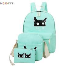3 шт./компл. милого кота рюкзаки для подростков школьная сумка для комплект для девочки зеленый рюкзак подростков мятно-зеленый Япония корейский Back Pack