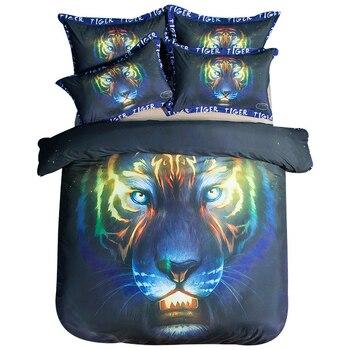 3D Winter Bedding Sets Dazzling Tiger Printed Fashion Boys Dormitory Duvet Cover Black Comforter Set Cotton Bed Linen Single