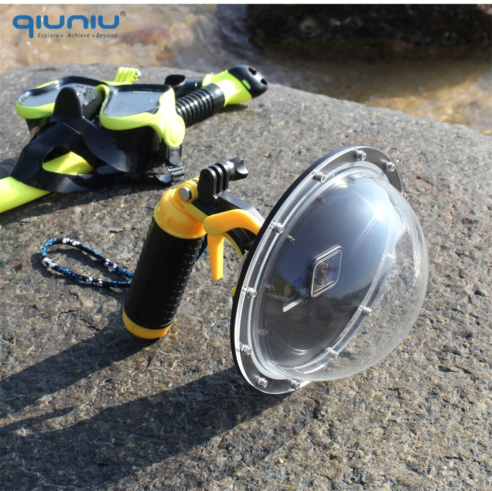 QIUNIU 6'' Diving Dome Port Waterproof Lens Cover Housing Case for GoPro Hero 5 6 7 Black 2018 for Hero 7 Silver/White Accessory-in Sports Camcorder Cases from Consumer Electronics