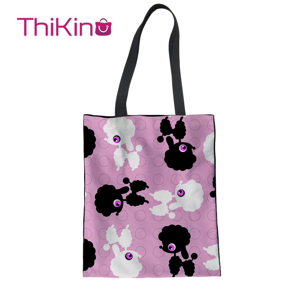 Thikin Hot Poodle Pattern Animals Canvas Bag Women Shopping Handbags Fashion Portable Bag for Girl Women Bags Designer in Top Handle Bags from Luggage Bags