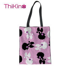 Thikin Hot Poodle Pattern Animals Canvas Bag Women Shopping Handbags Fashion Portable for Girl  Bags Designer