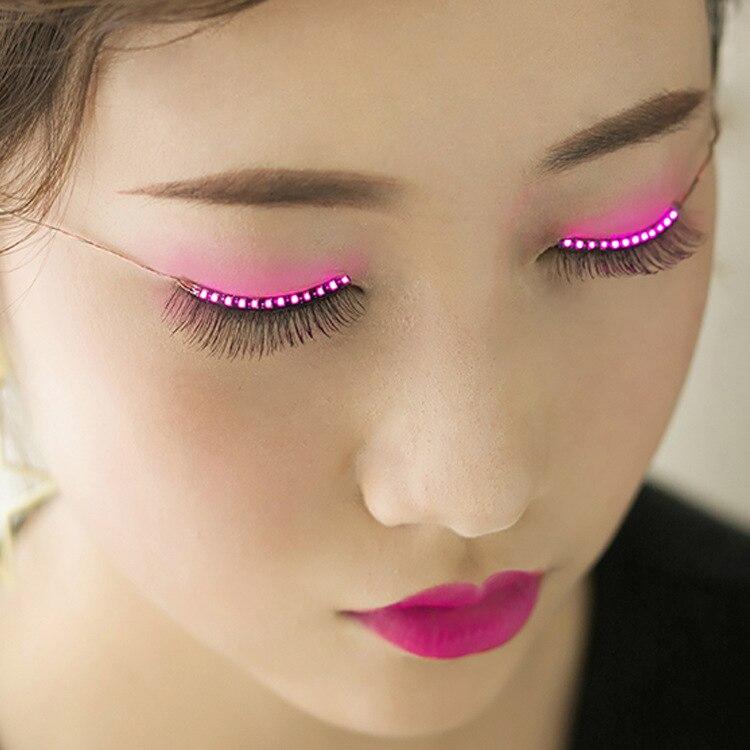 LED Light False Eyelashes Long Eyelashes Makeup False Eyelashes Black Nautral Handmade Eye Lashes Extension Party Bar Halloween