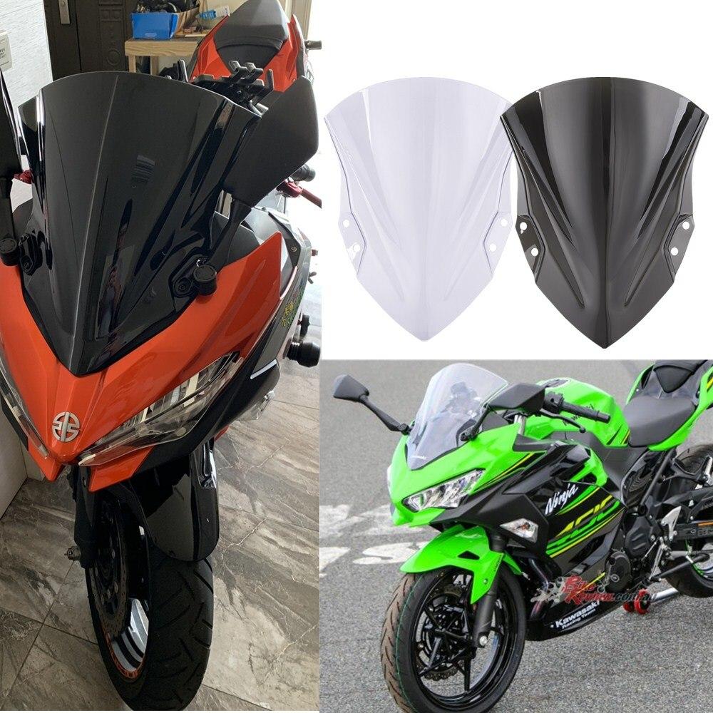 Ninja400 Ninja250 Motorcycle Windshield Windscreen Double Bubble Wind Deflector For Kawasaki Ninja 250 Ninja 400 2018 2019 Black