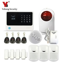 YobangSecurity 2016 2.4G WIFI Wi-fi GSM Home Alarm System Quad Band Wi-fi Out of doors Strobe Siren Smoke Gasoline Detector