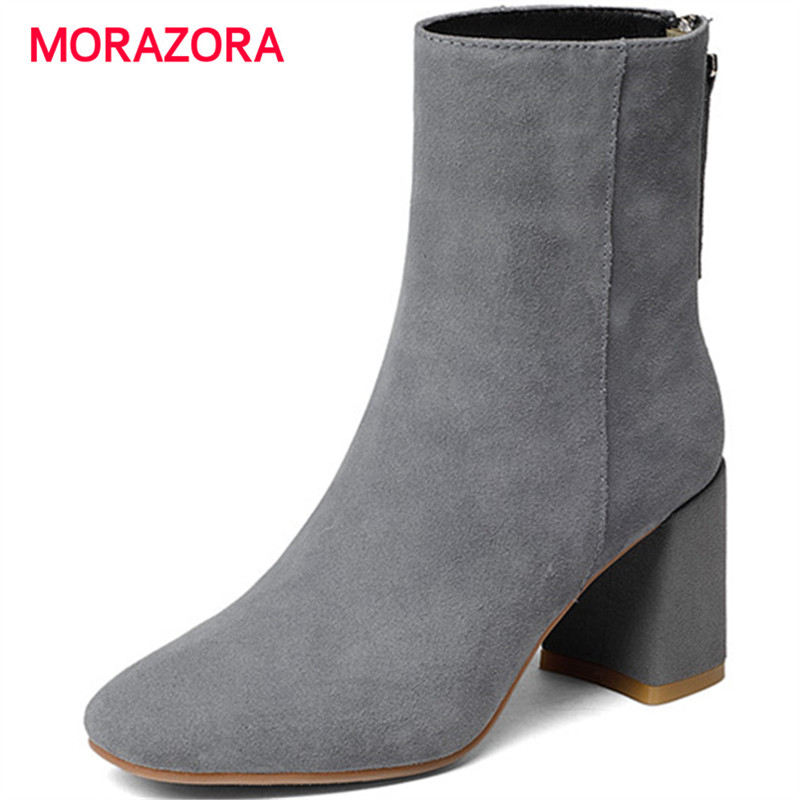 MORAZORA big size simple cow suede leather boots autumn winter square heel ankle boots for women square toe high heel snow boots women ankle boots pu super high heel pointed toe boots winter autumn boots warm fur big size square heel ankle boots