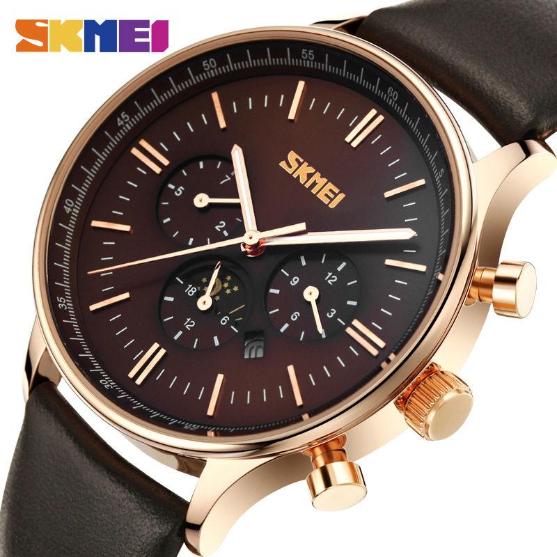 61bf2d2c95f SKMEI Marca de Luxo Homens de Negócios Relógios de Quartzo 30 M À Prova D   Água Moda Relógio de Pulso com Pulseira de Couro Relogio masculino 9117