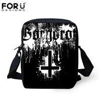 FORUDESIGNS Black Men Messenger Bags Metallica Skull Print Heavy Metal Rock Hip Hop Casual Shoulder Bags