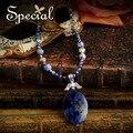 Especial nueva piedra Natural a la moda Maxi collar grande de los colgantes collar de gargantilla declaración azul para las niñas mujeres XL150834