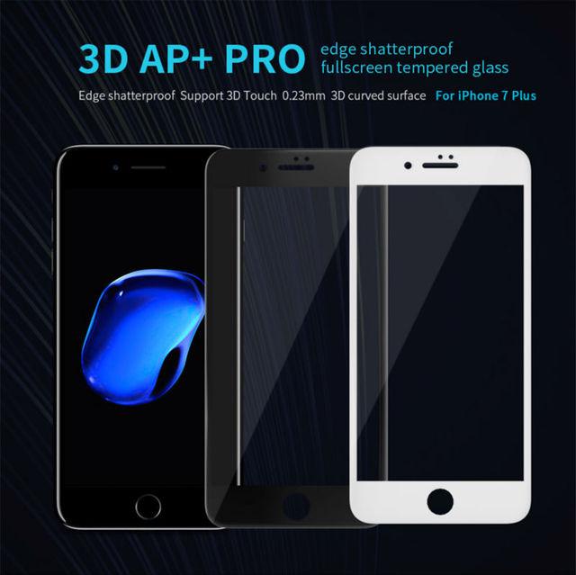 Nillkin ap + pro 3d curvada borde completo cubierta de la pantalla resistente a los arañazos vidrio ultra claro templado protector para 5.5 pulgadas iphone 7 Plus