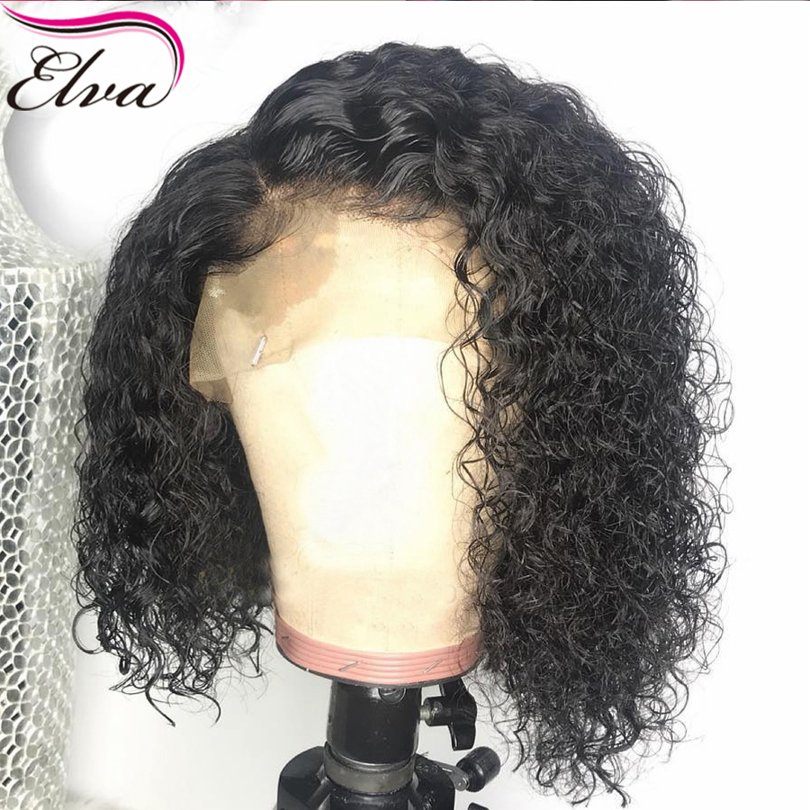 Short Lace Front Human Hair Wigs 150 Density 13X6 Deep Part Curly Glueless Lace Front Wigs Pre Plucked For Black Women Elva Hair