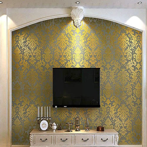 ... Europe Gold Glitter Non Woven DAMASK Floral Wallpaper Living Room Wall  Background Wall Paper Roll ...