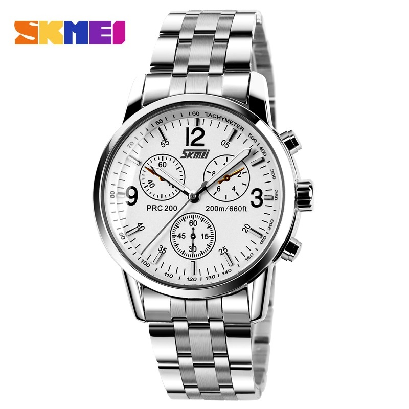 SKMEI Män Quartz Watch Man Full Steel Fashion Business Armbandsur Hot Man Klockur Klockor Relogio Masculino Luxury Top Märke 9070