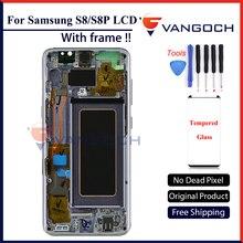 Orijinal Samsung Galaxy S8 Süper Amoled LCD Ekran Ekran G950 S8 Artı G955 Meclisi Değiştirme ile çerçeve ve ücretsiz hediye