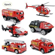 6 Pcs/pack Alloy Mini Mobil Model Mainan Fire Fighting Truck Mainan Anak-anak Model Anak Anak Hadiah Set(China)