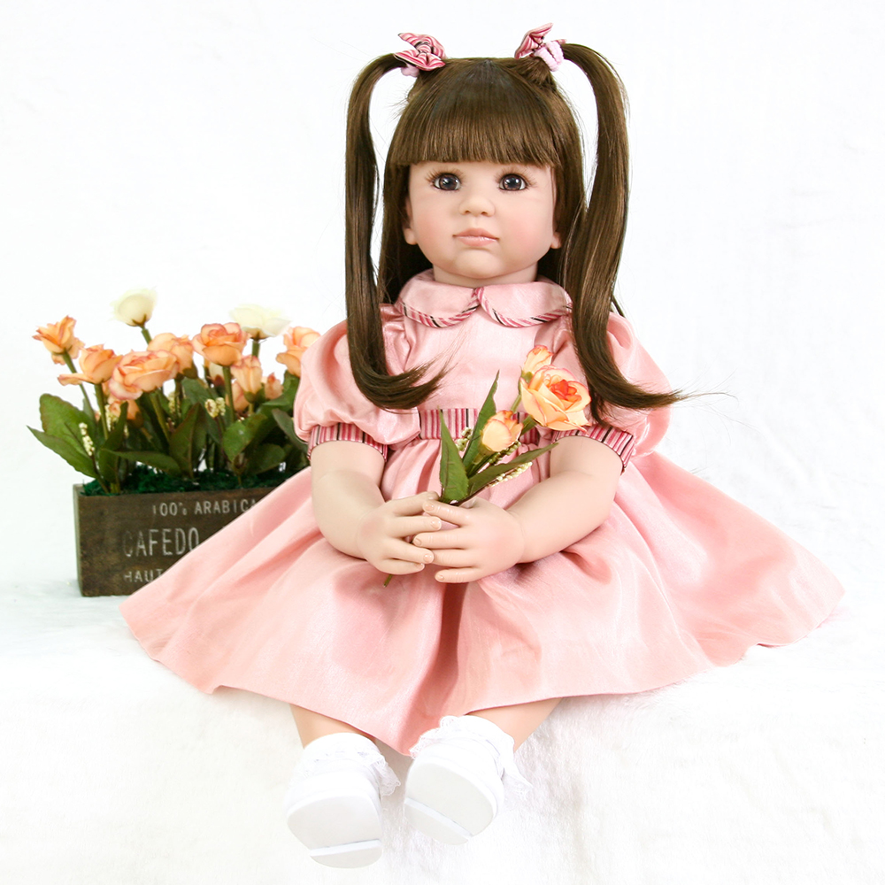 Collectible Pink Dress Reborn Silicone Baby Girl Doll Lifelike Princess Toddler Girl Dolls for Children House Play Fun Doll Toys adorable soft cloth body silicone reborn toddler princess girl baby alive doll toys with strap denim skirts pink headband dolls