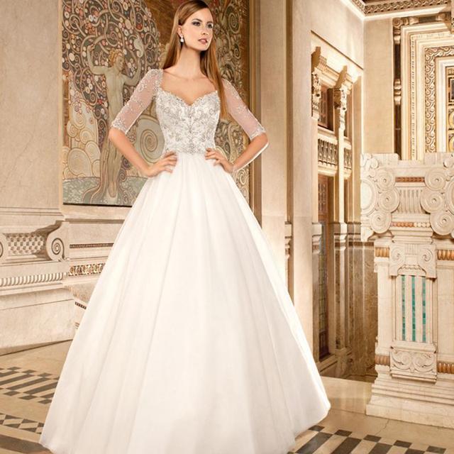 2016 Half Sleeve Wedding Gowns Sweetheart Bling Bling Beaded Glitter ...