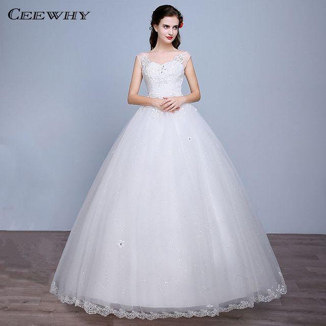 Ceewhy sweetheart Bordado Crystal corset vestido de novia piso ...