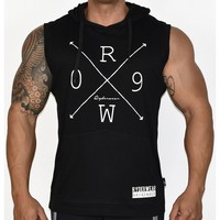 Moda marca gyms ropa fitness hombres Tank Top con capucha mens bodybuilding carta Camisetas de tirantes entrenamiento camiseta sin mangas