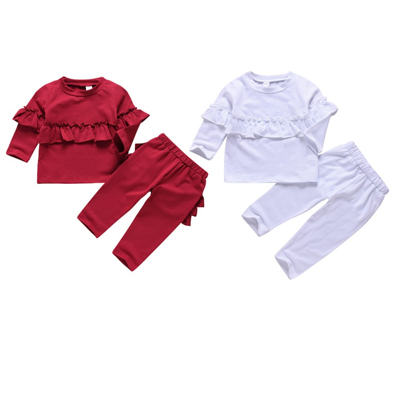 NewAutumn Baby Girls Solid Print Long Sleeve Ruffle Design Sweatshirt Tops Trousers Casual Outfits Clothes 6M-3T New