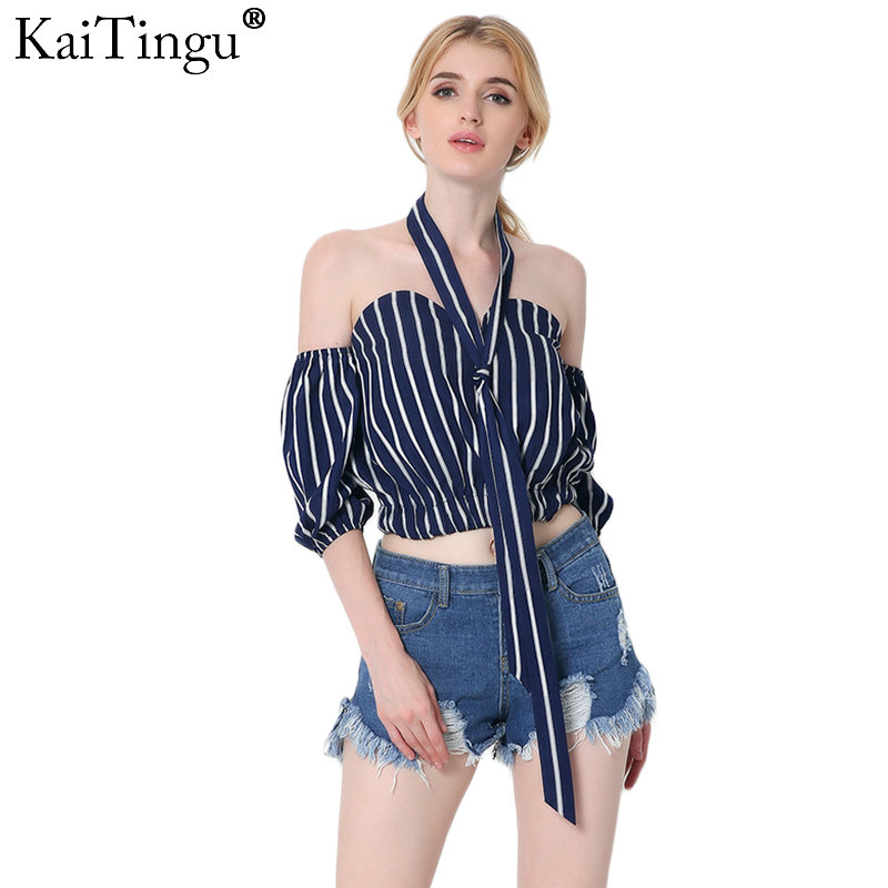 KaiTingu Black Striped Chiffon Blouse Shirt Bow Summer Style Girls Halter Tops Sexy Off Shoulder Crop