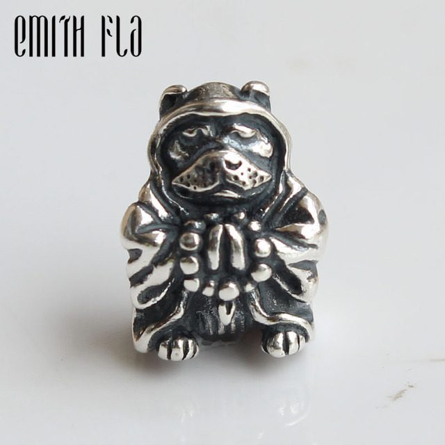 Emith Fla Genuine 925 Sterling Silver Buddha Dog Charm Bead Fit for Troll Bracelet Jewelry Beads for Jewelry Making Wholesale