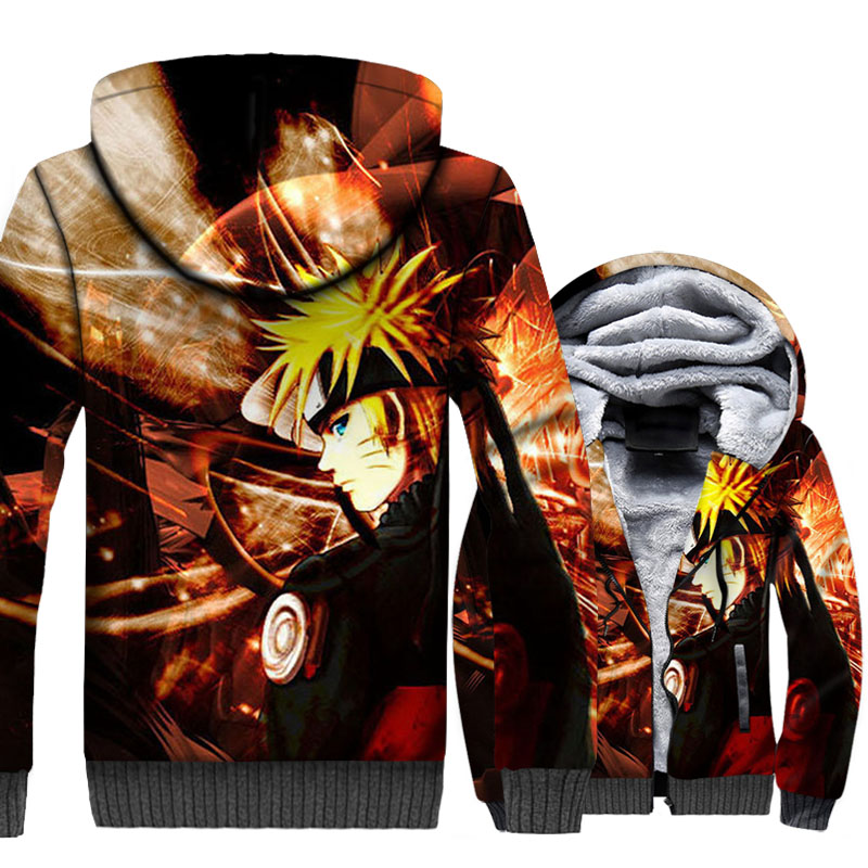 Anime Thick Hoody NARUTO 3D Pattern Brand Hip Hop Sweatshirt For Men 2018 Autumn Winter Zip Jackets Hip Hop Men 39 s Hoodies Unisex in Hoodies amp Sweatshirts from Men 39 s Clothing