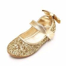 Girls shoes princess sapato tenis infantil menina Children Bowtie girl pu  kids party wedding gold silver 6f71794eec90
