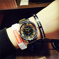 Original Ulzzang Brand Hollow Dial Rome Scale PU Leather Quartz Wristwatches Wrist Watch Clock for Women Men Black White OP001