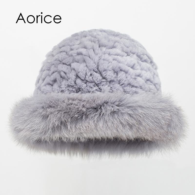 Aorice HF7057 The new women's rabbit fur and fox fur hats цены онлайн