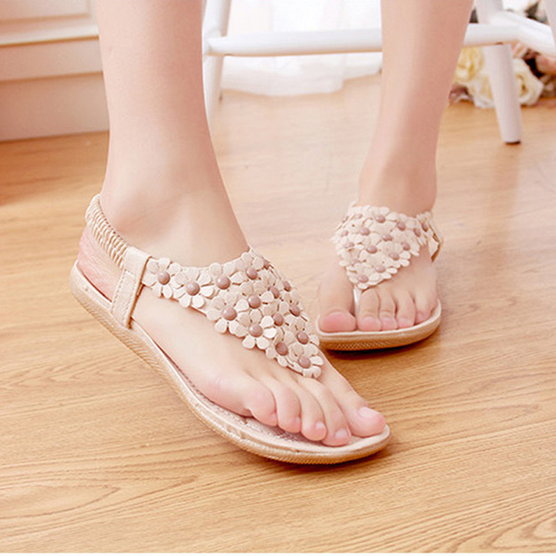 2018 Summer Sandals Women Shoes Bohemian Thong Flats Shoes Woman Sandals Flower Casual Beach Sandals Size 35-39 White Apricot цена и фото