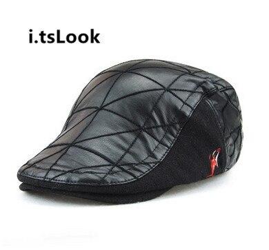 bcad8a35b6b04 tsLook 2017 New Hats Men s Caps Faux PU Leather Black Beret Hat Autumn  Winter Visor Caps Fashion Berets BF-168