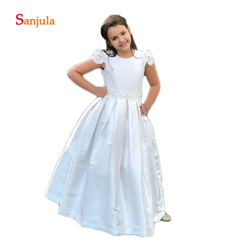 Satin A-Line   Flower     Girls     Dresses   2019 Newly Lace   flowers   Child First Communion   Dresses   Open Back with Bow vestido daminha D122