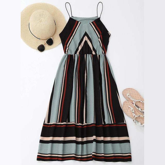 AZULINA Casual Striped Beach Dress Women Sexy Sleeveless Spaghetti Strap Midi A Line Summer Party Dress 2017 Sundress vestidos