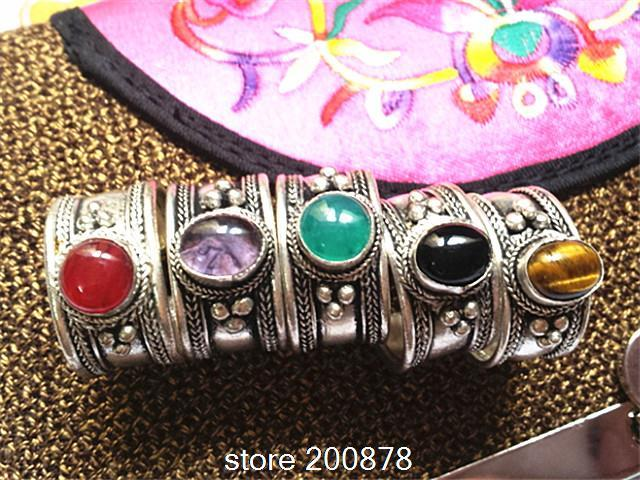 R033 Tibetan Silver Inlaid Colorful Beads Rings Nepal Antiqued Vintage Open Rings
