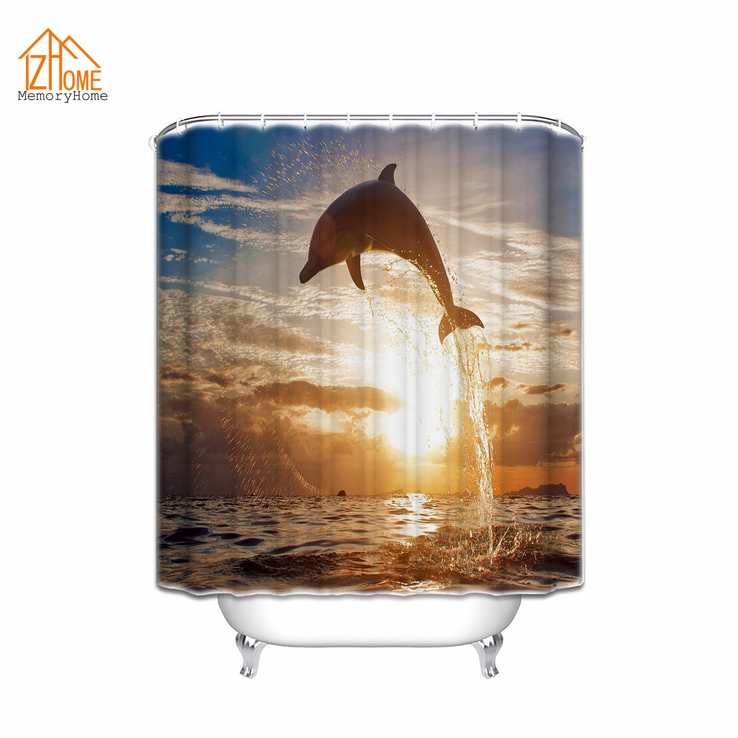 Waterproof bathroom curtains - Memory Home Custom Dolphin Fish Ocean Colletion Decor Pattern Shower Curtain Waterproof 100 Polyester Fabric