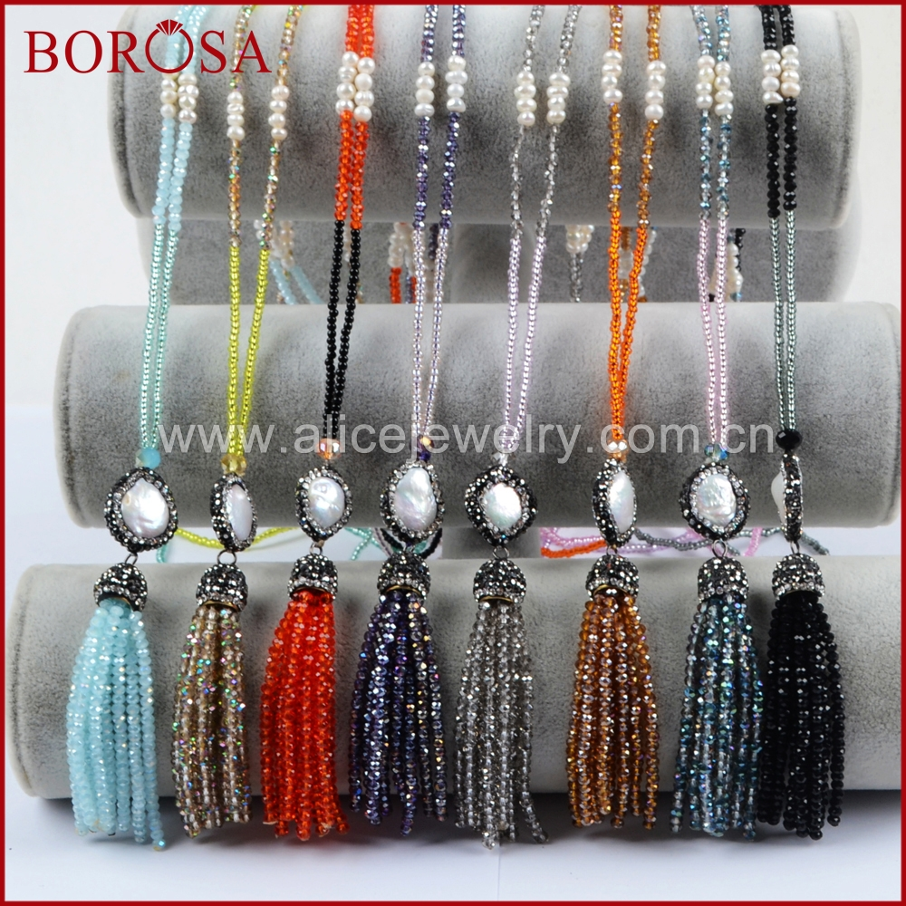 BOROSA Handmade 32 Natural Pearl With Rainbow Glass Quartz Tassel Pendant Necklace,Druzy Gems Long Necklace for Women JAB793