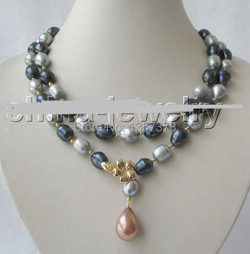 Free shipping bjc 000128 12mm black gray baroque freshwater pearl necklace