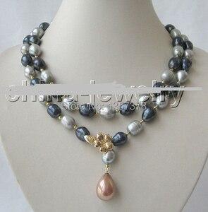 Бесплатная доставка bjc 000128 12 мм черный серый барочный пресноводный жемчуг ожерелье