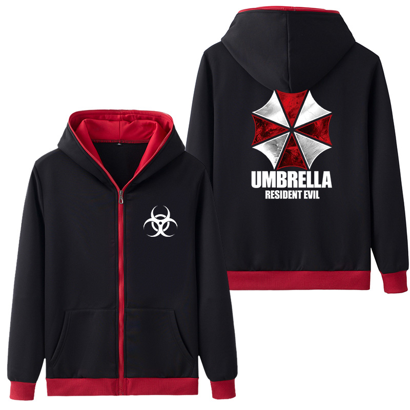 Resident Evil Umbrella Hooded Adults Men's Hoodie Zipper Hoodies & Sweatshirts Luminous Coat Outer Wear Hoody Five Color