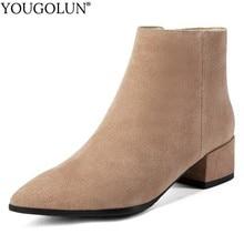 цена на Cow Suede Mid Heel Ankle Boots Women Autumn Ladies Square Heels A252 Fashion Woman Zipper Black Apricot Square toe Shoes Boots
