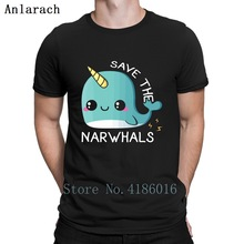 b7bebd4bd Save The Narwhals T Shirt Graphic Knitted Family Clothes Streetwear Trendy  Men Fashions Spring 2019 Breathable