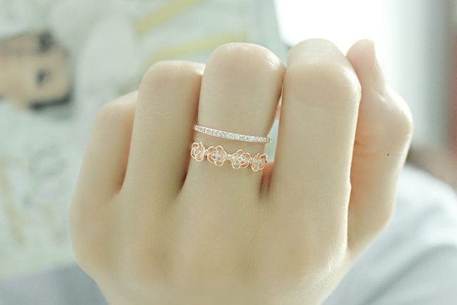 line Shop Korean rose open moissanite gold ring new design