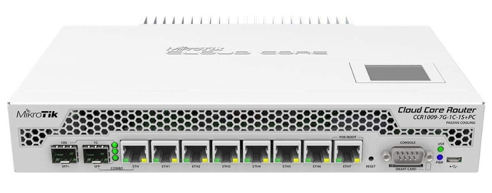 MikroTik CCR1009-7G-1C-1S+PC Cloud Core Router with Passive Cooling microSD, 1SFP+port, 7x 10/100/1000 Ethernet ports, RouterOS mikrotik ccr1016 12g routerboard cloud core router 12 gigabit ports routeros
