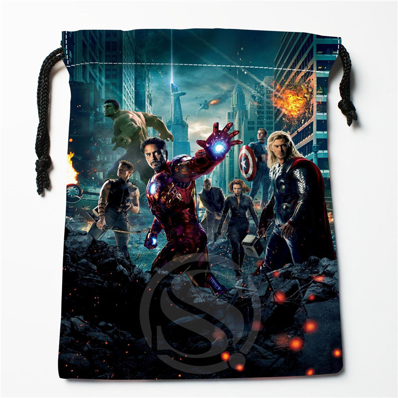 New Iron Man Printed Storage Bag 27x35cm Satin Drawstring Bags Compression Type Bags Customize Your Image Gifts