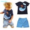 Юмор Медведь НОВЫЙ детская одежда мультфильм набор мальчиков установить комплекты младенцам короткий майка + брюки 2 шт. набор одежды дети костюм