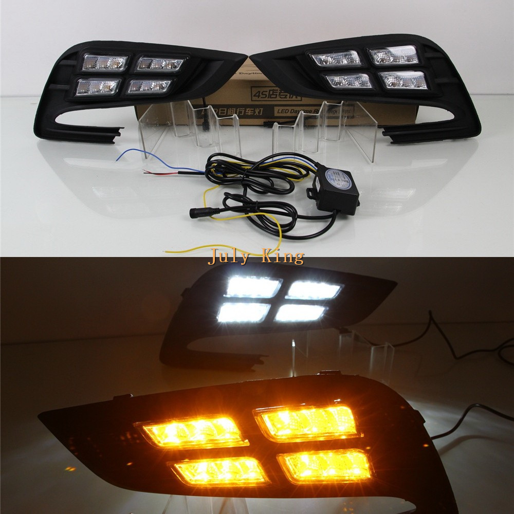 July King LED Daytime Running Lights DRL Case for Buick Encore and Opel Mokka X 2016+, 6000K LED Fog Lamp + Yellow Turn Signals led auto car drl daytime running lights gloss style fog lamp with turn off and dimmer function case for 2012 ford focus 3
